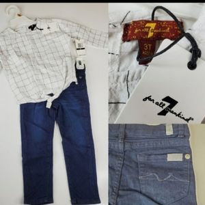 NEW 3T 7 FOR ALL MANKIND OUTFIT JEANS SHIRT NWT